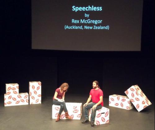 Anna Shotter (Kelly) and Gareth Price-Baghurst (Roy) in Speechless, Gi60 UK Live, Leeds, UK.