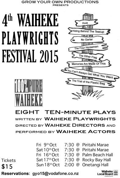 Waiheke Playwrights Festival 2015